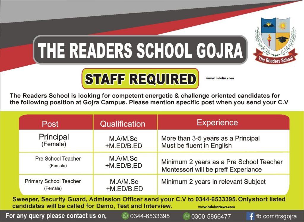 the readers school jobs