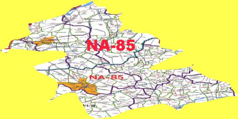 NA-85 Mandi Bahauddin Area, Map, Candidates – 2018