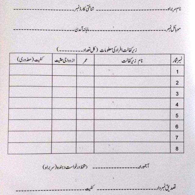 Form for Financial Aid of Corona Virus for district Mandi Bahauddin
